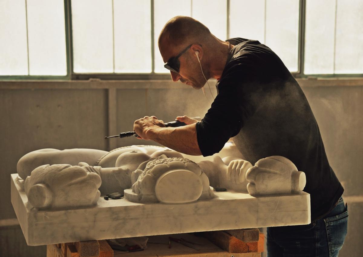 The sculpture La Pleureuse by Francois-Xavier and Claude Lalanne