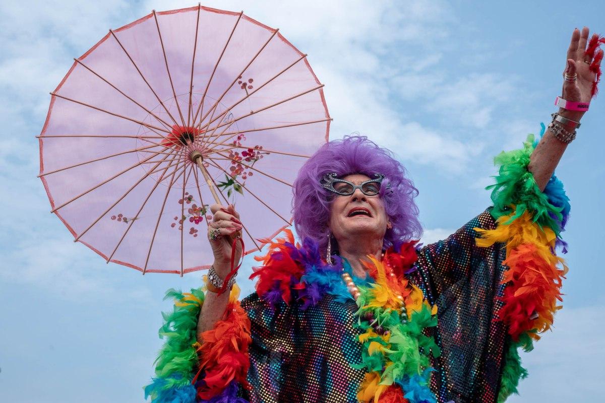 drag queen with umbrella